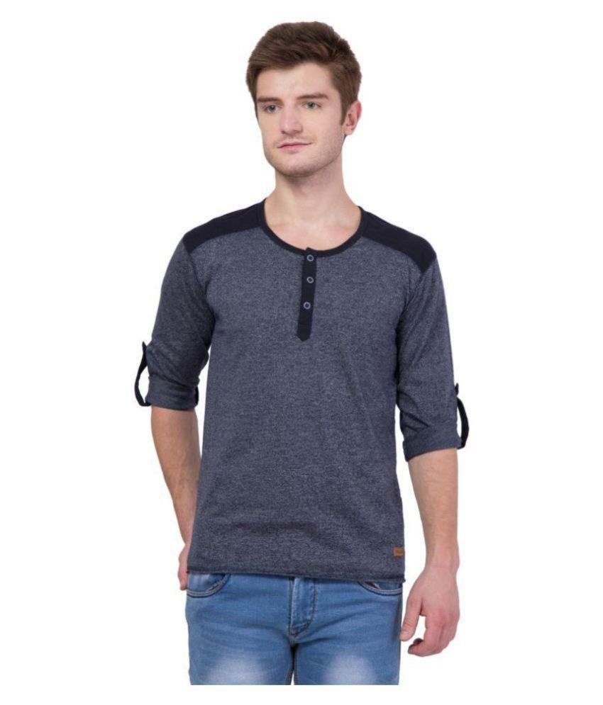 American-Elm Blue Henley T-Shirt