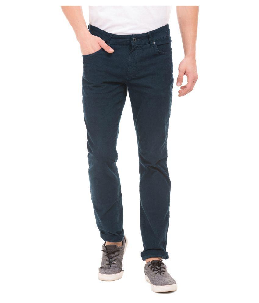 Nautica Dark Blue Regular -Fit Flat Trousers