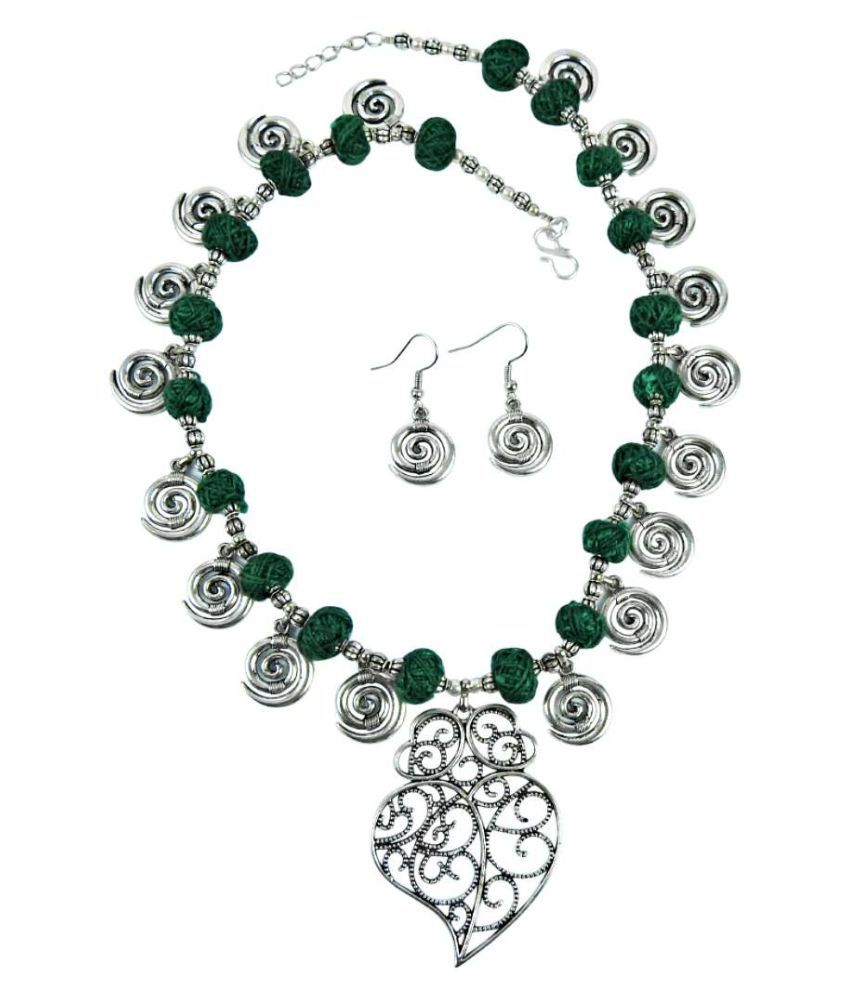 Miska Silver Fashion Necklace & Earring Set Trendy Jewelry For Women & Girls