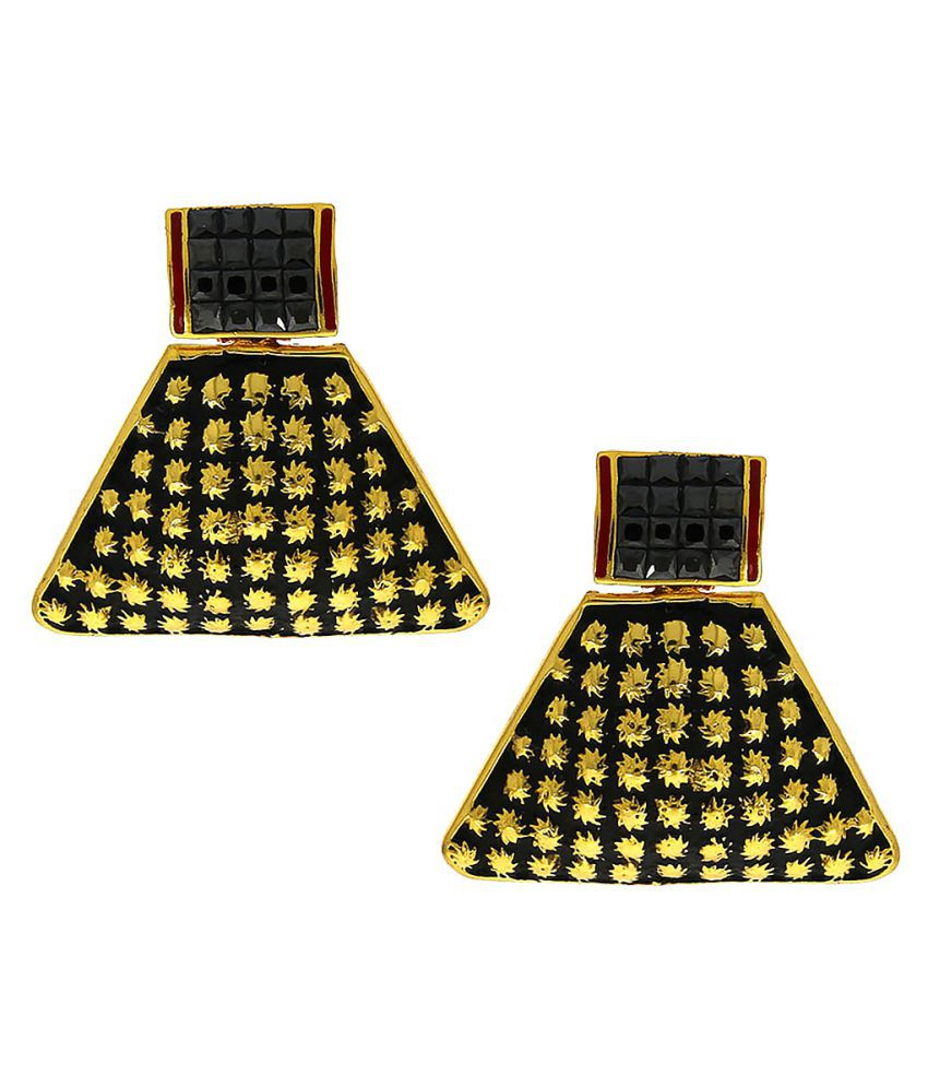 Anuradha Art Presenting Geometric Shape Studded With Blue Colour Stone Antique Designer Ear Studs Earrings For Women/Girls