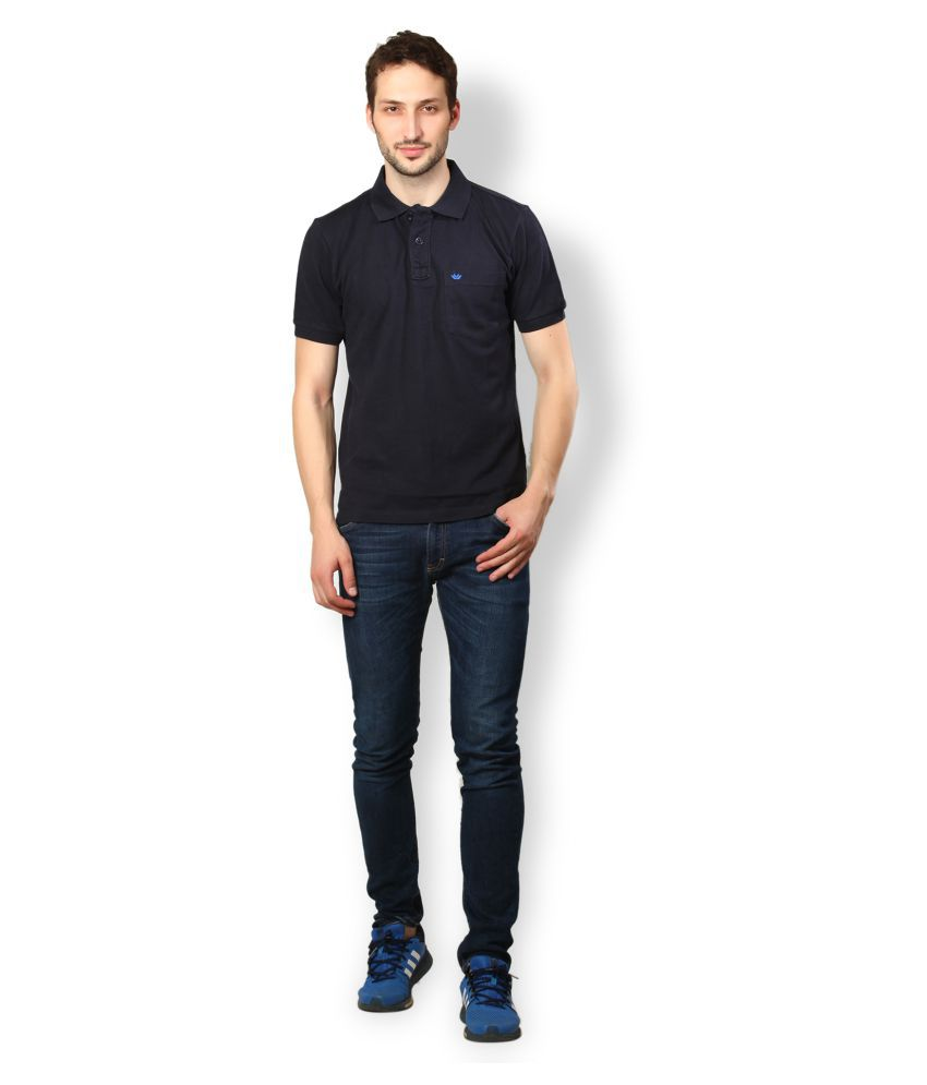 UV & W Blue Cotton Polo T-Shirt