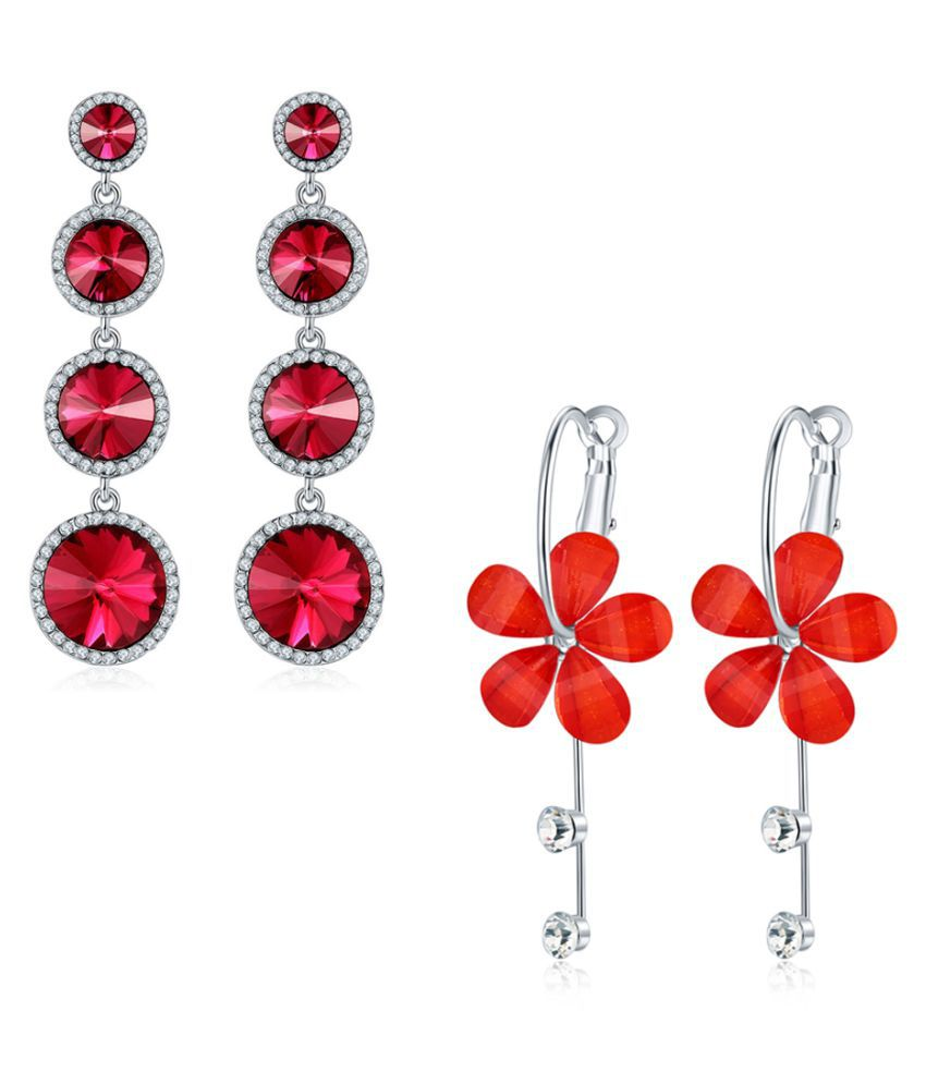 Jewels Galaxy Crystal Elements Delicate Design Sparkling Red & Brilliant Floral Drop-Earrings For Women/Girls - Combo Of 2
