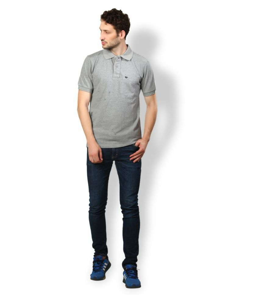 UV & W Grey Cotton Polo T-Shirt