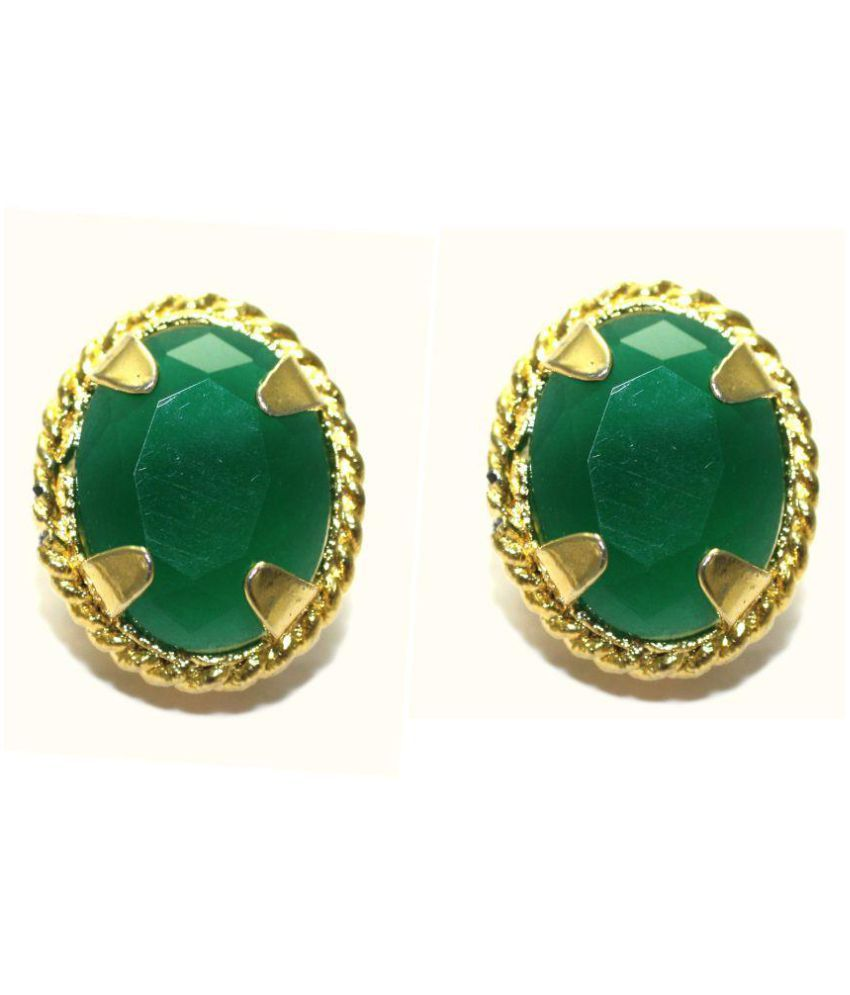 Gold Plated Oval Shape Stud Earring For Girl Women