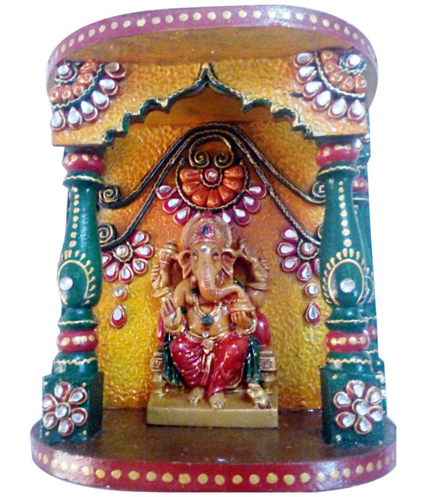 Netra Brand Multicolour Wood Floor Mandir
