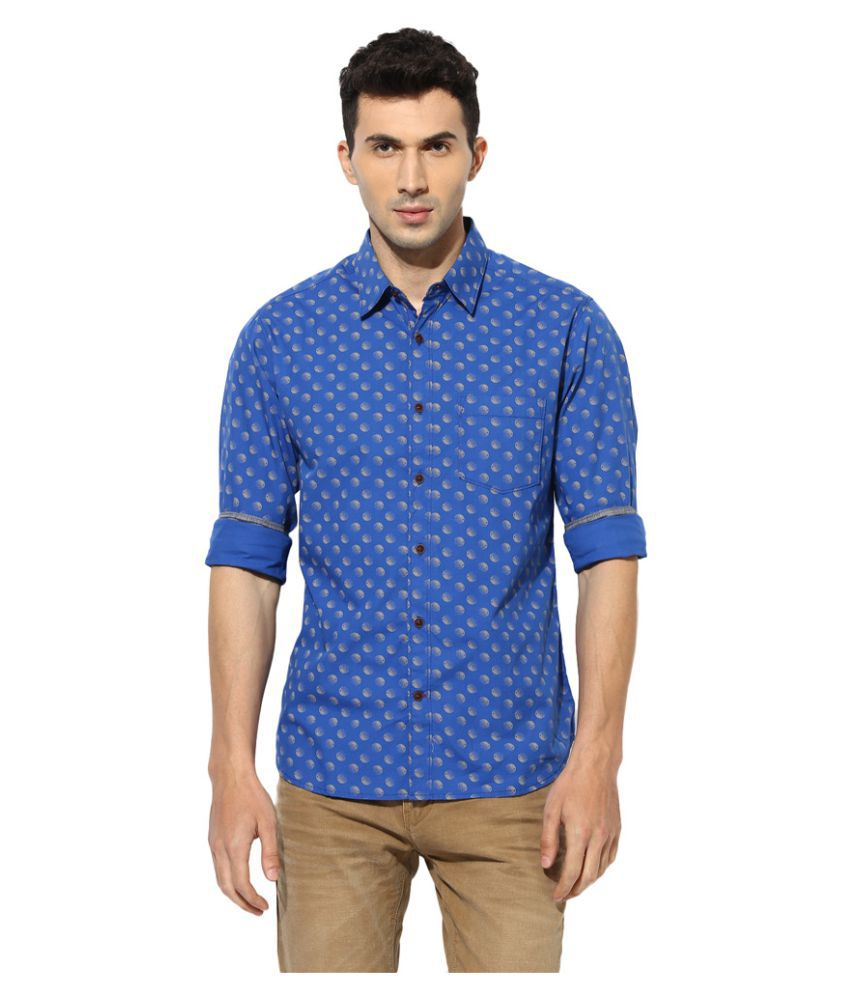 Greenfibre Blue Casual Slim Fit Shirt