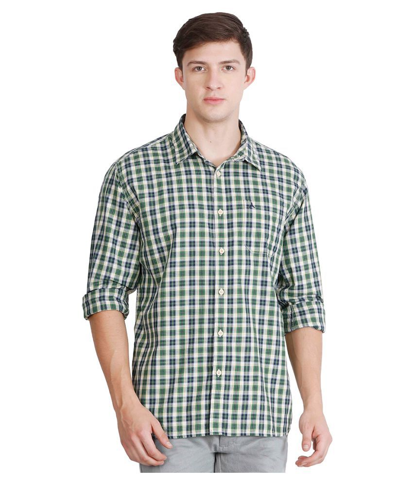 JDC Green Casual Regular Fit Shirt