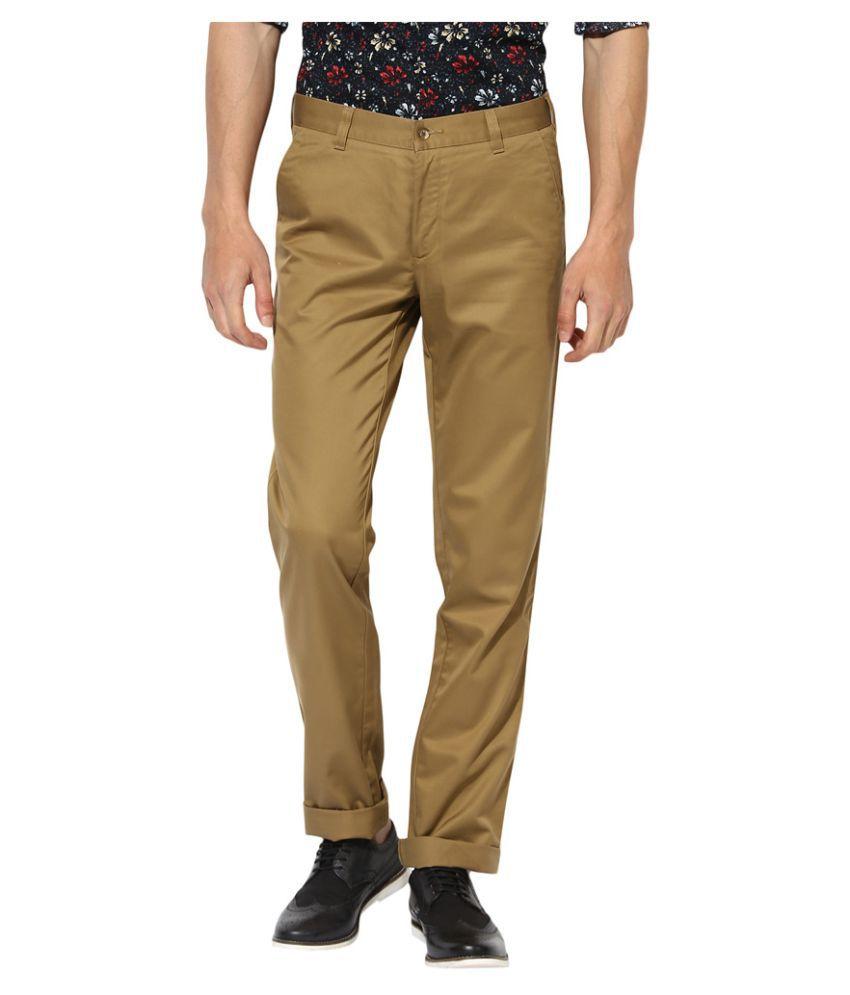 JadeBlue Khaki Slim -Fit Flat Trousers