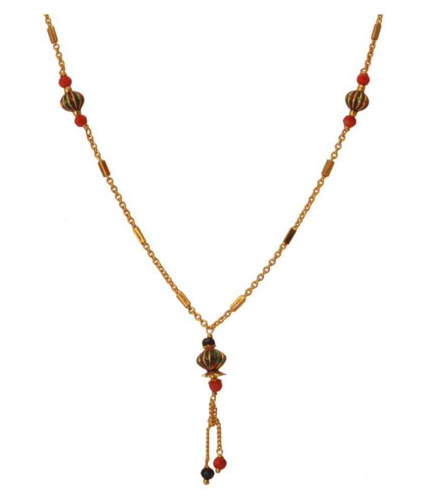 M4u Fashion Red Color Black Beads Mangalsutra