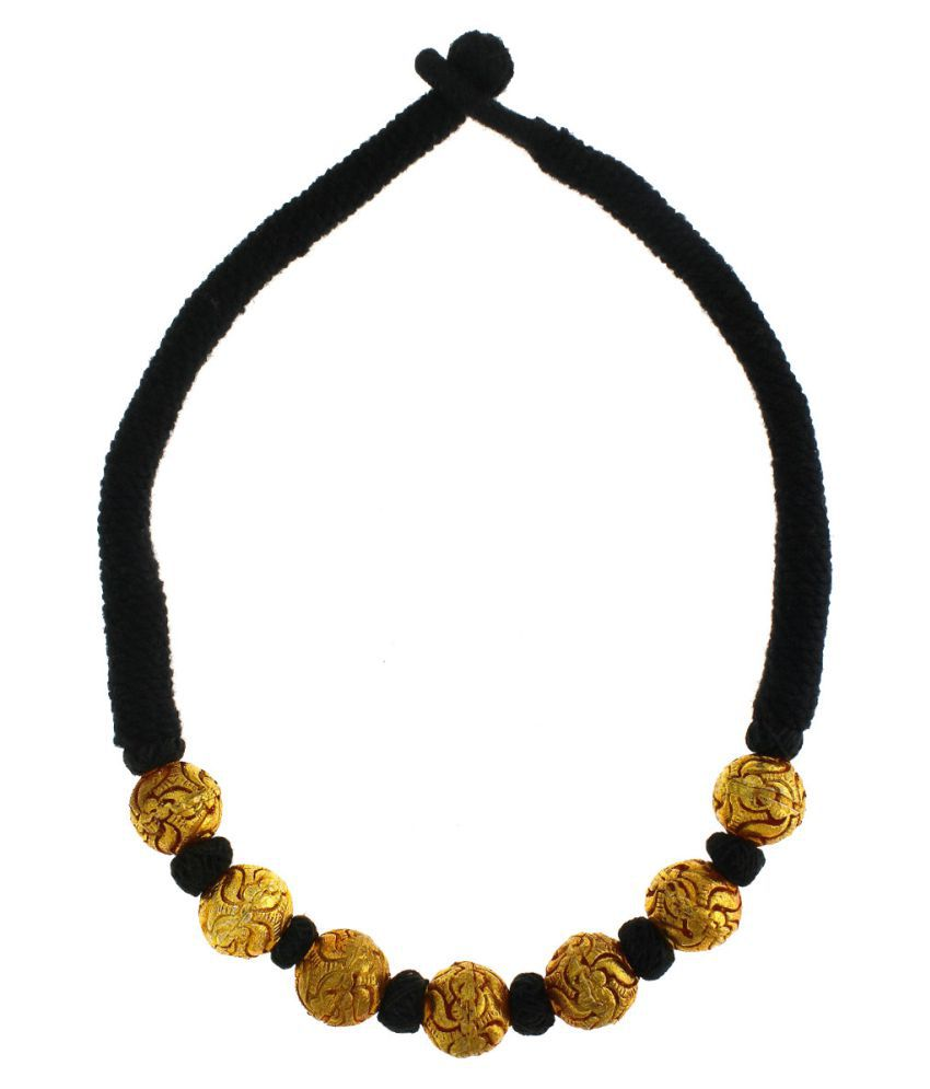 Anuradha Art Black Colour Styled With Geru Polish Beads Traditional Maharashtrian/Rajasthani Necklace For Women/Girls