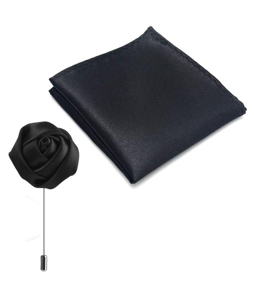 Verceys Handmade Polyester Rosebud Flower Lapel Men Brooch Boutonniere Tuxedo Pin Navy Blue Along With Premium Mens Solid Micro Fiber Silk Satin Pocket Square Wedding Handkerchiefs