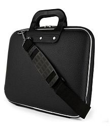Home Story Black PU Leather Laptop Bag