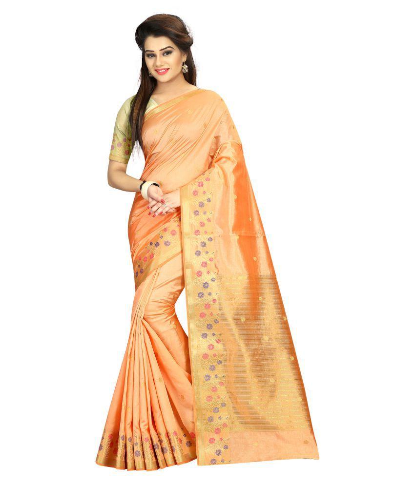 Khwaab Enterprise Yellow and Beige Banarasi Silk Saree