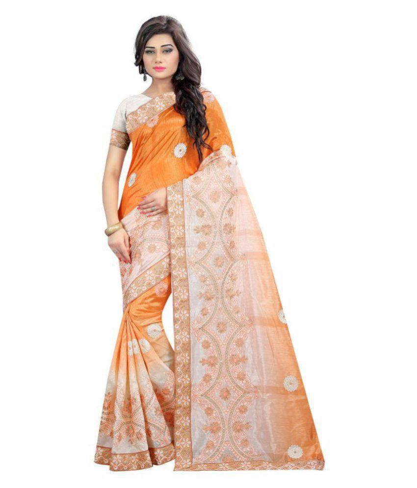 Gazal Fashions Orange Silk Saree