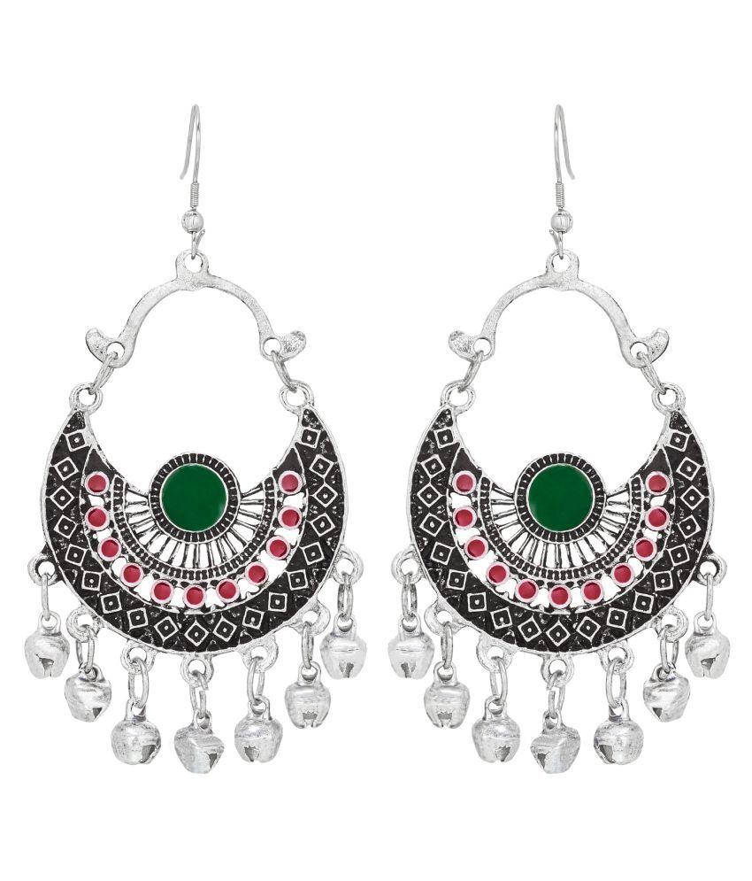 Aadita Designer German Oxidised Chandbali Stone Earrrings for Women