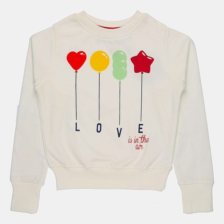 Quotee Winter Exclusive Girl's Graphic Printed Round Neck Off White Fleece Pullover Sweatshirt by GlamFolio IPL