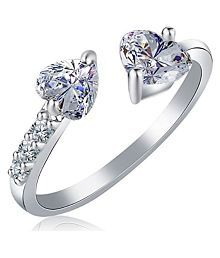 Om Jewells Rhodium Plated Double Heart Band Ring Studded with Cubic Zirconia made for Girls and Women FR1000903 (Adjustable)