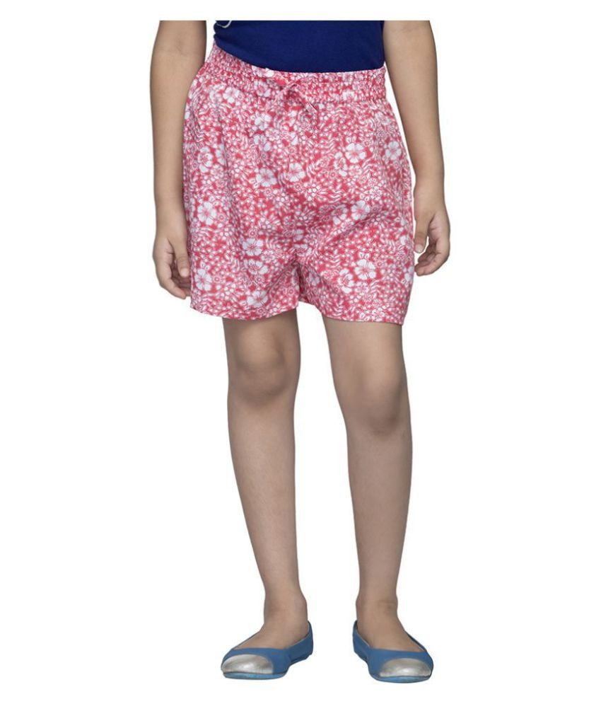 Girl'S Pink Floral Shorts