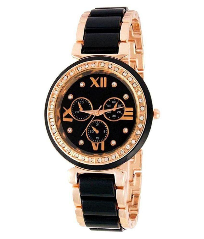 Renaissance Traders Designer Black & Gold Stylish Metal Watch For Women