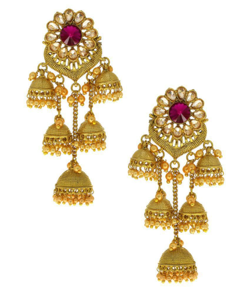 Anuradha Art Pink Colour Classy Three Layer Wonderful Jhumki/Jhumkas Styled With Beads Droplet Traditional Earrings For Women/Girls