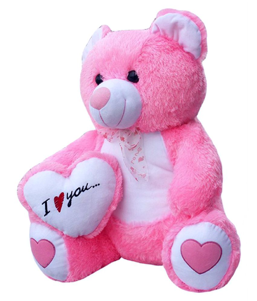 Pink Teddy bear + Heart open back slippers iaVYB