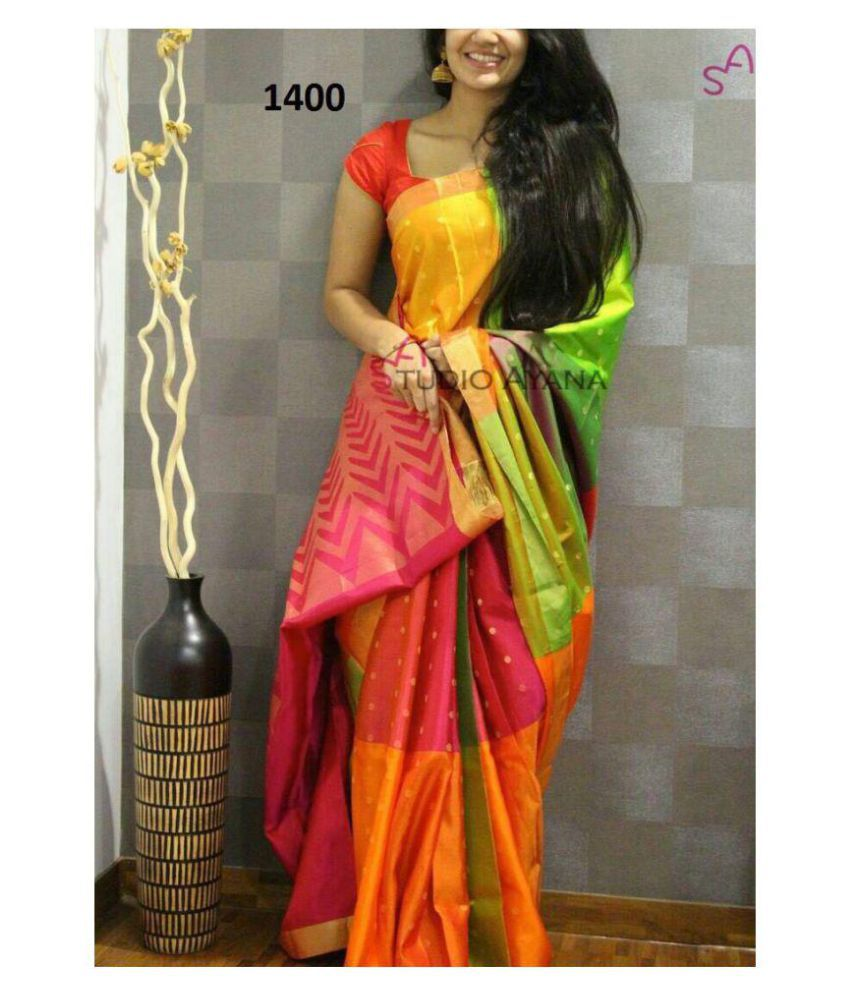 fe7bd4df475ffa Mahadev Enterprises Red and Orange Bhagalpuri Silk Saree - Buy Mahadev  Enterprises Red and Orange Bhagalpuri Silk Saree Online at Low Price -  Snapdeal.com