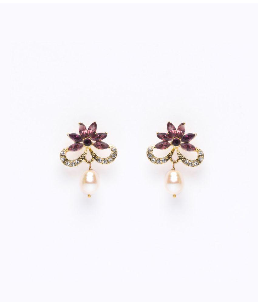 Chandrani Pearls White Drop Pearl Earrings