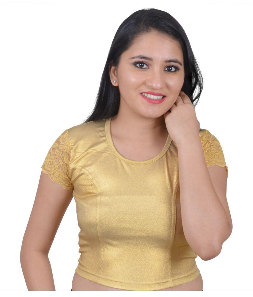 Salwar Studio Gold Lycra Readymade without Pad Blouse