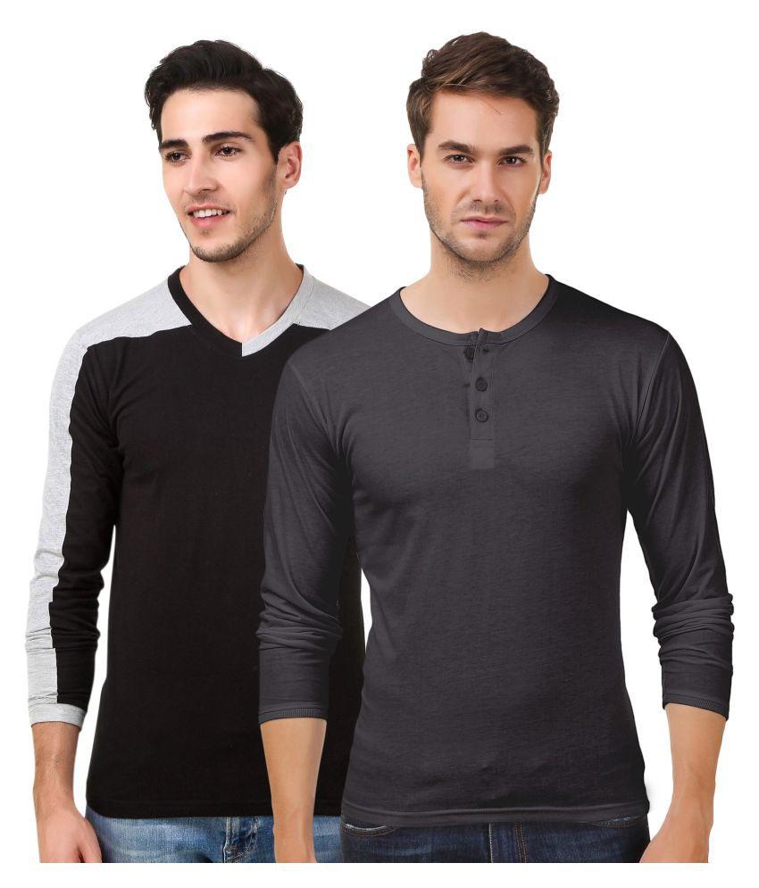 Sen Voler Black V-Neck T-Shirt Pack of 2