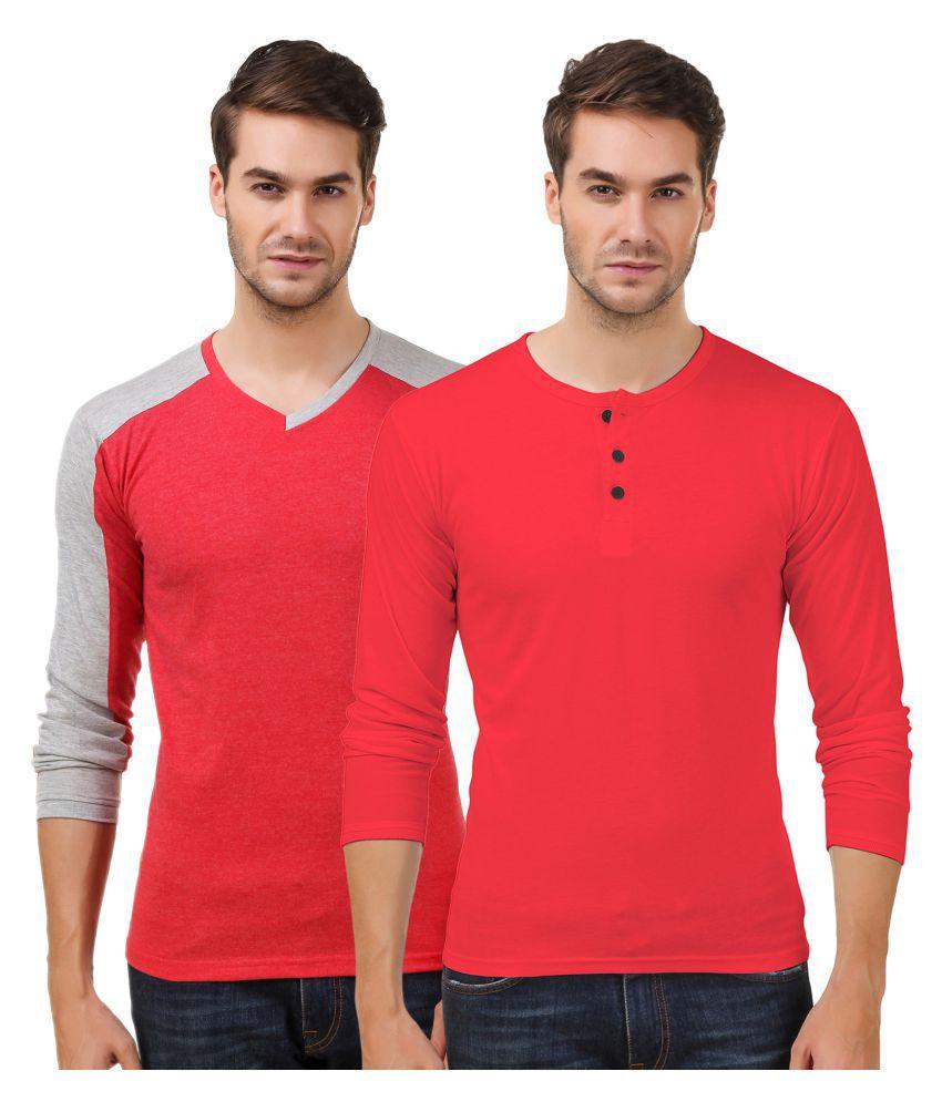 Sen Voler Red V-Neck T-Shirt Pack of 2