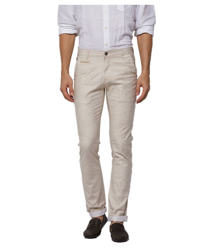 Beevee Off White Regular -Fit Flat Trousers