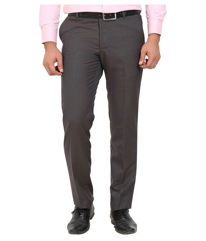 La Mode Grey Regular -Fit Flat Trousers