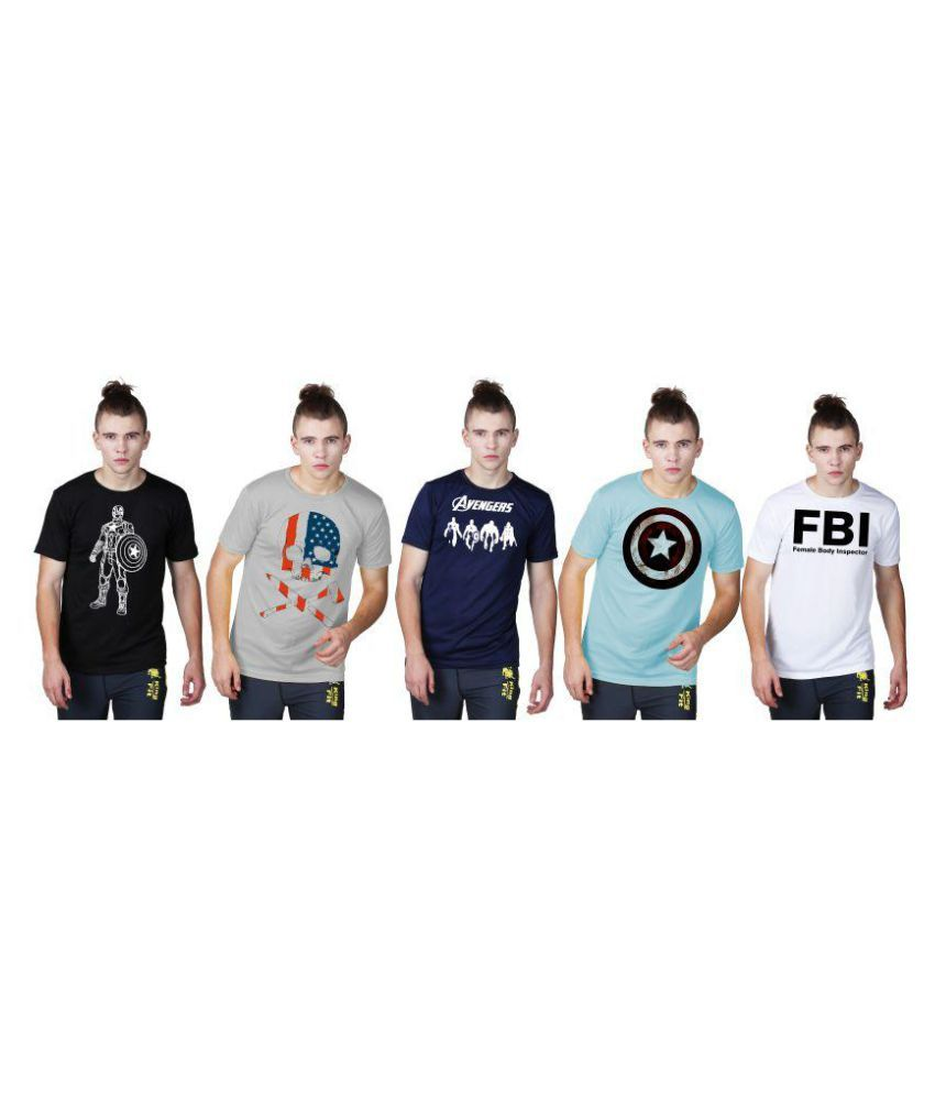 Essenze Multi Polyester T-Shirt Pack of 5