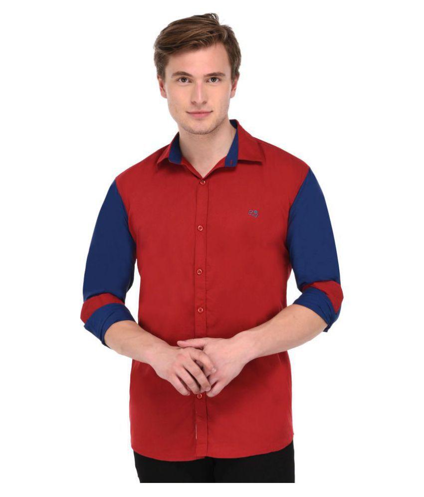 Lafantar Maroon Casual Slim Fit Shirt