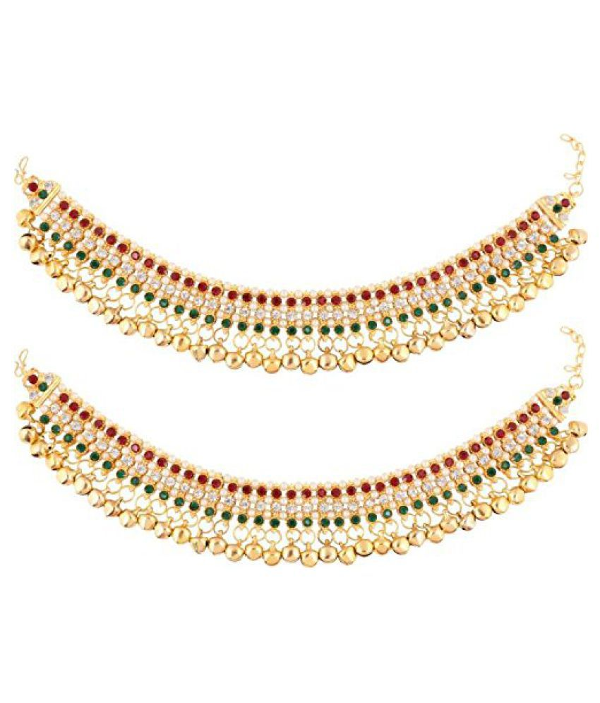 Prita's Multicolored Gold Plated Ghungroo Anklet Pair For Women