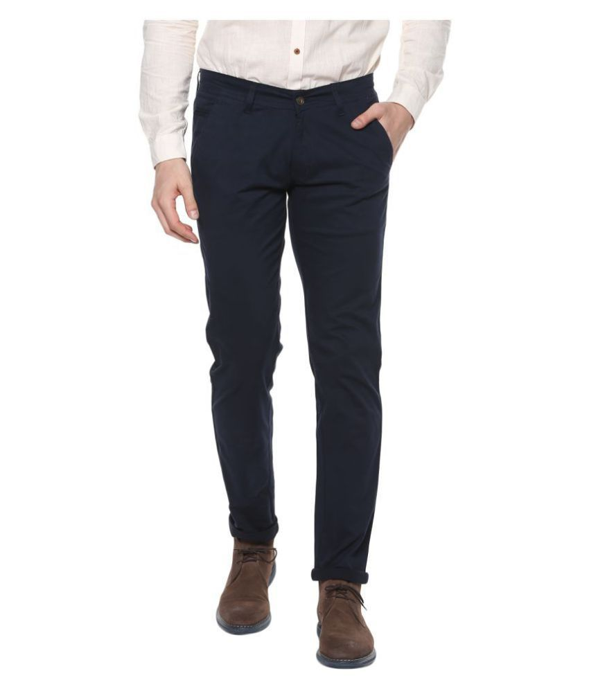 Urbano Fashion Navy Blue Slim -Fit Flat Chinos