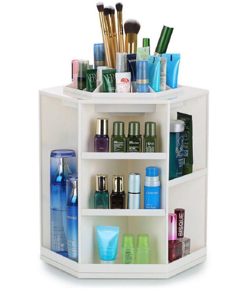 ShopAIS Plastic 360-Degree Spinning Cosmetic Organizer Display Makeup Box  Brush Cleanup Rotating Desktop Storage Pack Of 1