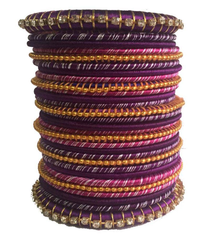 Handmade Beautiful Silk Dori Plastic  Bangle Set