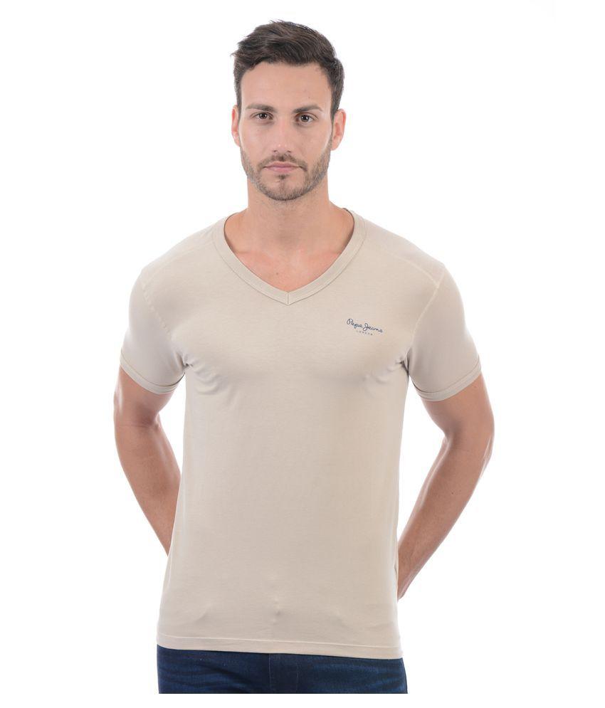 Pepe Jeans Beige V-Neck T-Shirt