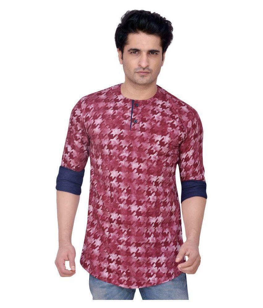 PP Shirts Maroon Casual Regular Fit Shirt