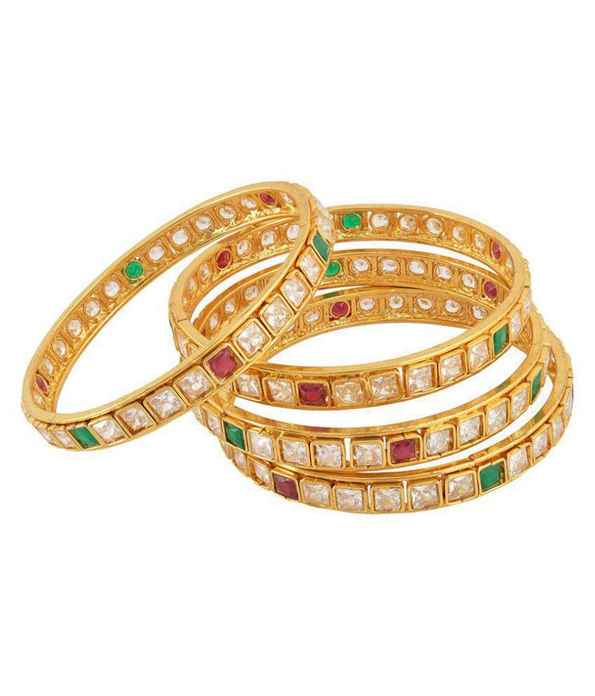 Fashion For Sure Gold Brass Bangle Set for Women - Set of 4 (Size: 2.6, B44)…