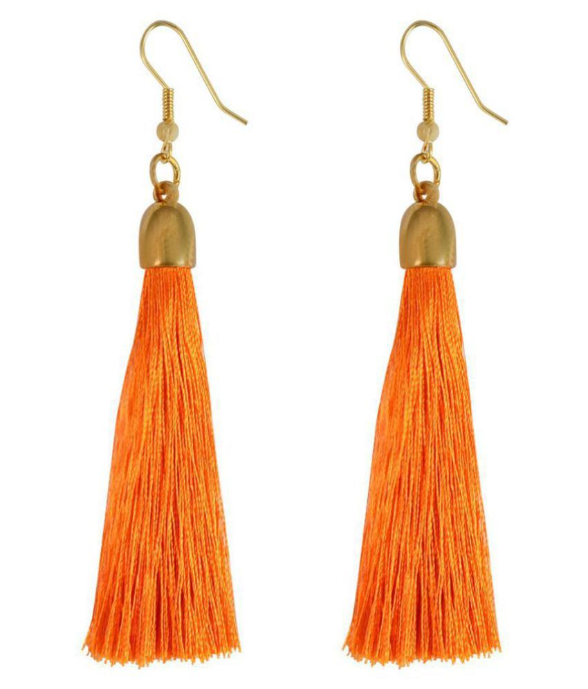 I Jewels Tribal Fringe Rope Tassel Earrings for Women (E2553O)