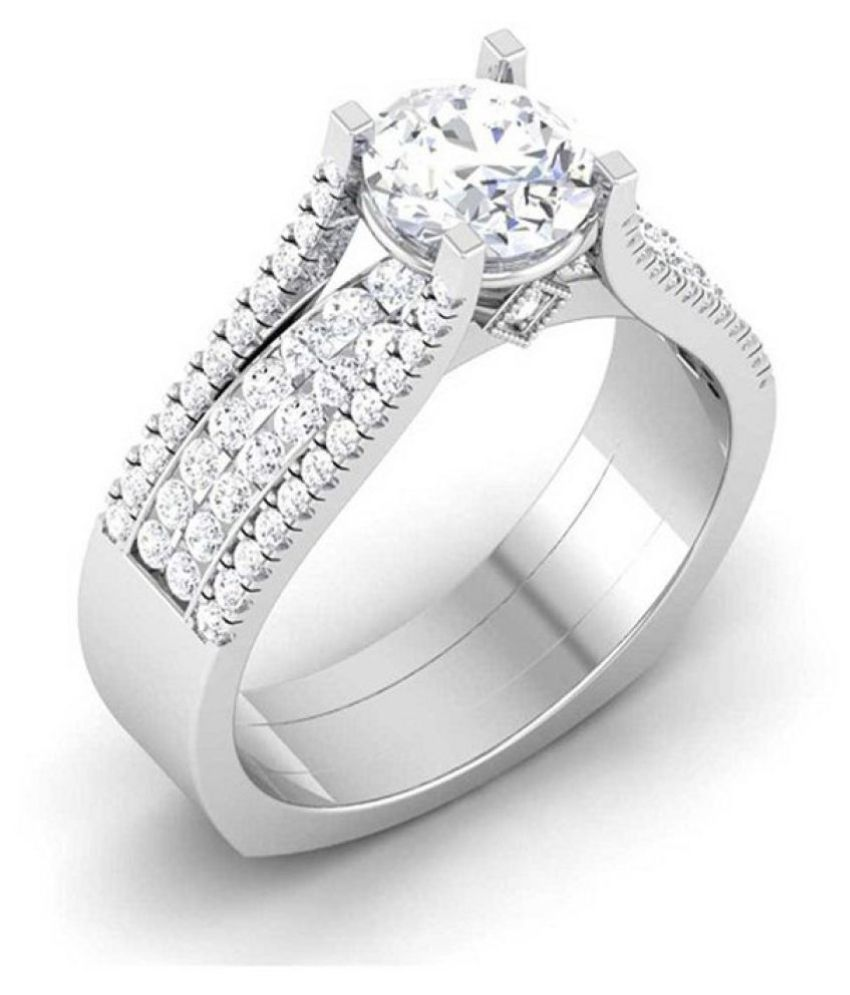 Amantran Gems And Jewels 14k White Gold Ring