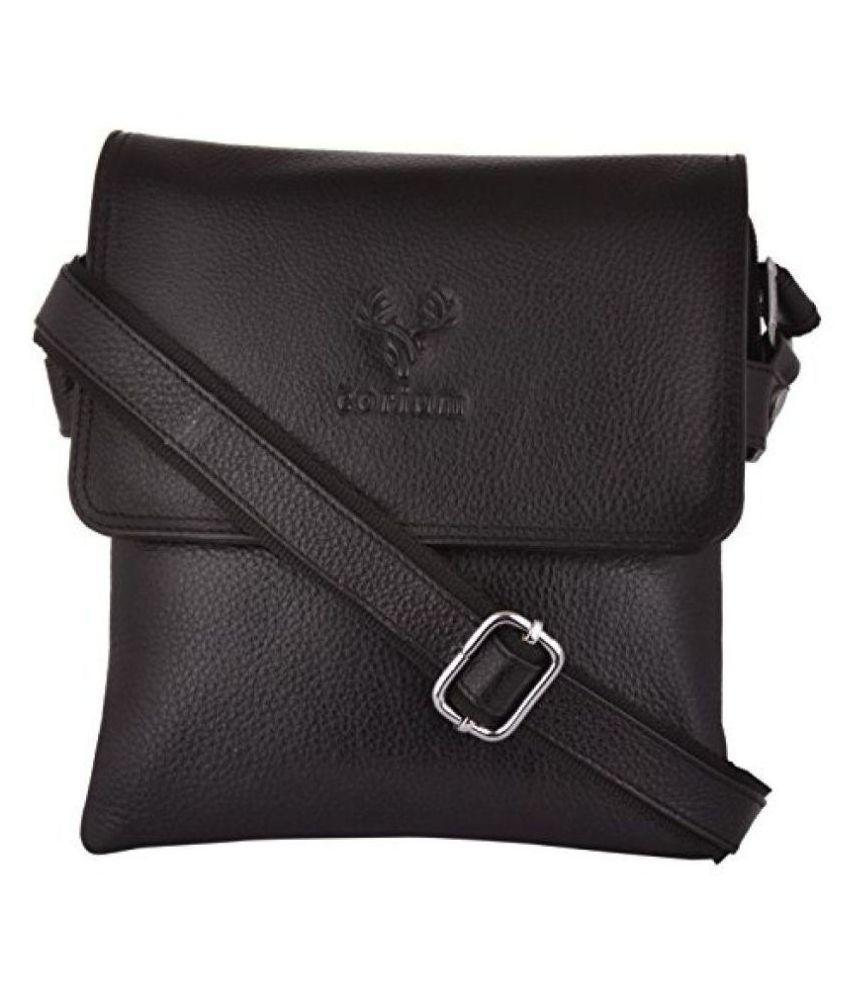 Corium Black Leather Casual Messenger Bag
