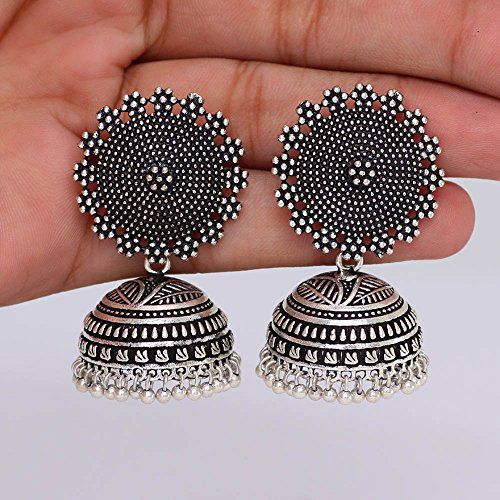 d7384eed8 I Jewels Oxidized Silver Plated Jhumki / Jhumkas Earrings for Women  (E2552B) - Buy I Jewels Oxidized Silver Plated Jhumki / Jhumkas Earrings  for Women ...