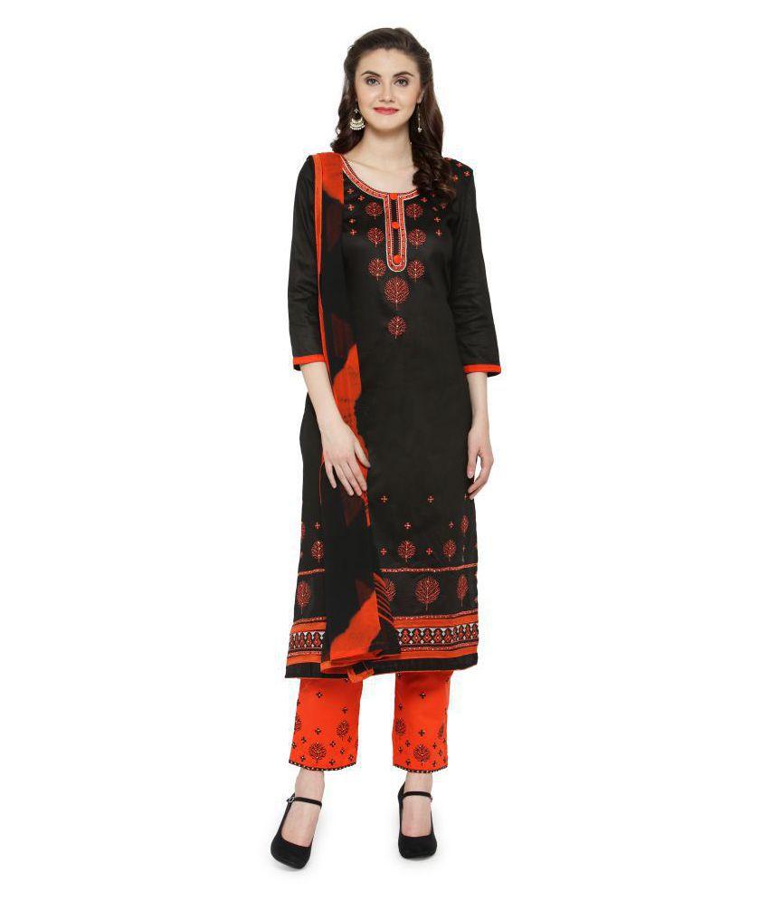 Patiala House Black Satin Dress Material