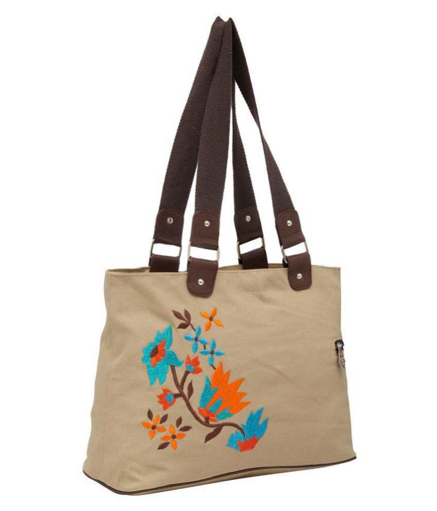Pick Pocket Beige Canvas Sling Bag