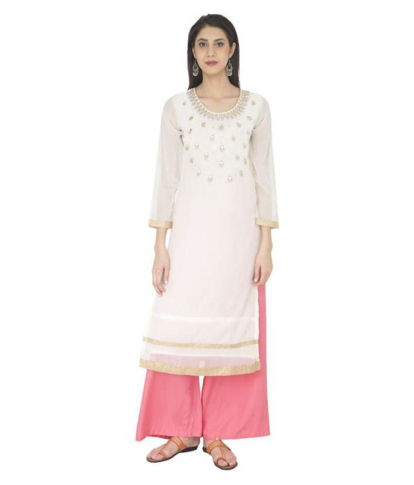 Zoeyam's Off White Georgette Straight Kurti