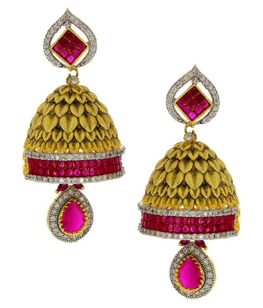 Anuradha Art Golden Finish Classy Pink Colour Studded American Diamonds Stone Traditional Jhumki/Jhumkas Earrings For Women/Girls