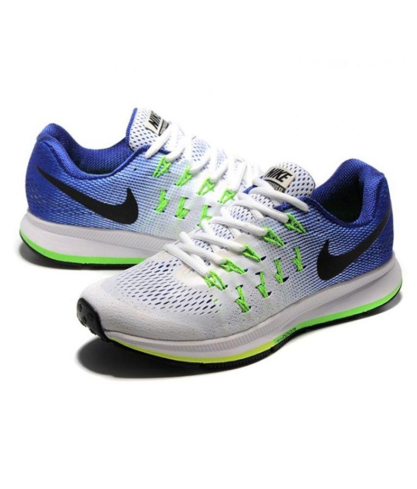 huge selection of ba1ec ec119 Zoom Air Pegasus 33 White Blue Running Shoes - Buy Zoom Air Pegasus 33  White Blue Running Shoes Online at Best Prices in India on Snapdeal